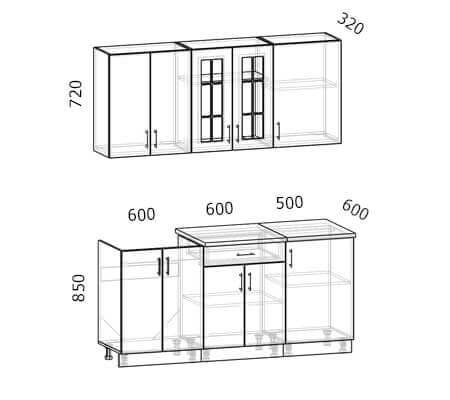 Схема кухни Бостон 13 (1,7 метра)