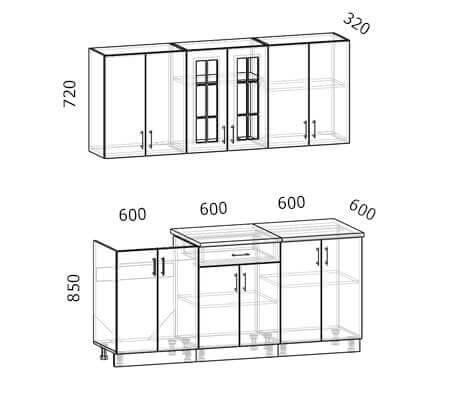 Схема кухни Бостон 14 (1,8 метра)