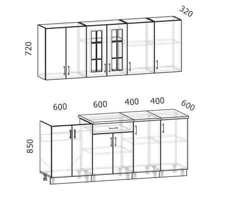 Схема кухни Бостон 15 (2,0 метра)