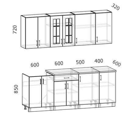 Схема кухни Бостон 16 (2,1 метра)