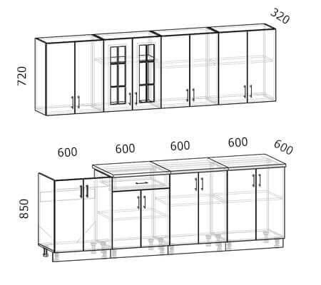 Схема кухни Бостон 18 (2,4 метра)