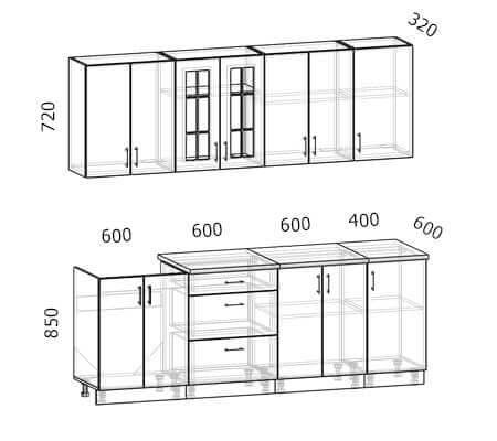 Схема кухни Бостон 7 (2,2 метра)