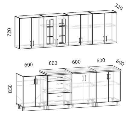 Схема кухни Бостон 8 (2,4 метра)