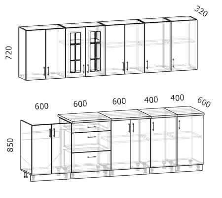 Схема кухни Бостон 9 (2,6 метра)