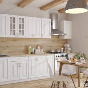 Кухня Бостон 19 МДФ прямая 2,6 метра акация белая