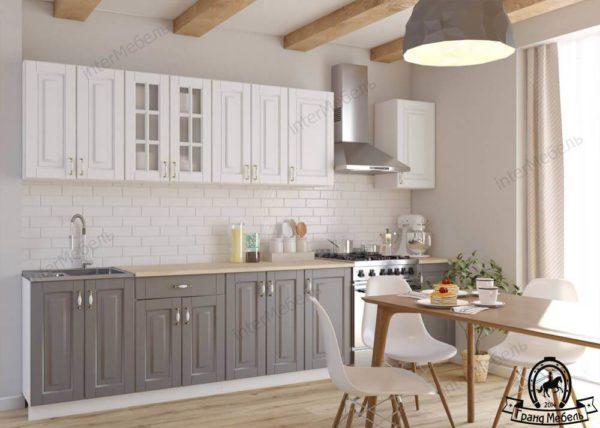 Кухня Бостон 19 МДФ прямая 2,6 метра акация белая акация графит
