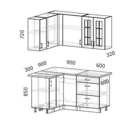 Схема и расположение модулей угловой кухни Бостон 21 МДФ с размером 1,5 на 1,2 метра