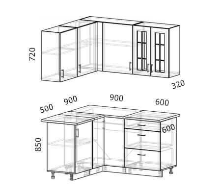 Схема и расположение модулей угловой кухни Бостон 23 МДФ с размером 1,5 на 1,4 метра