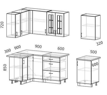 Схема и расположение модулей угловой кухни Бостон 25 МДФ с размером 2,6 на 1,2 метра