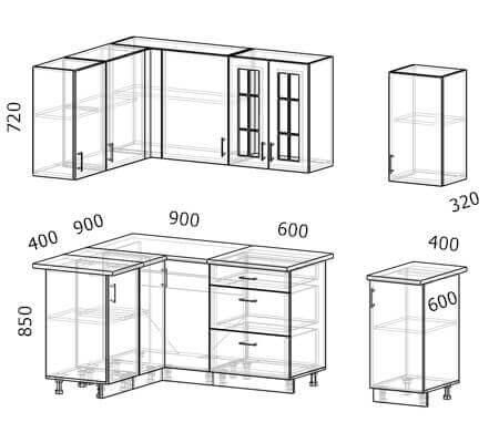 Схема и расположение модулей угловой кухни Бостон 27 МДФ с размером 2,5 на 1,3 метра