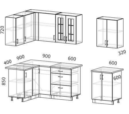 Схема и расположение модулей угловой кухни Бостон 29 МДФ с размером 2,7 на 1,3 метра