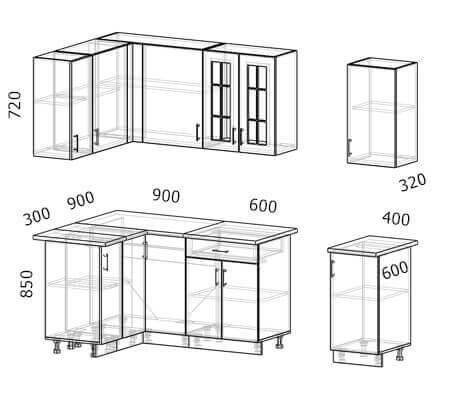 Схема и расположение модулей угловой кухни Бостон 34 МДФ с размером 2,5 на 1,2 метра