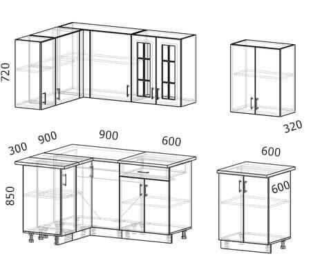 Схема и расположение модулей угловой кухни Бостон 36 МДФ с размером 2,7 на 1,2 метра