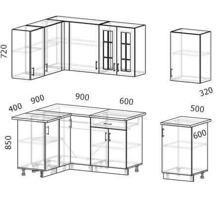 Схема и расположение модулей угловой кухни Бостон 38 МДФ с размером 2,6 на 1,3 метра
