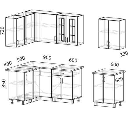 Схема и расположение модулей угловой кухни Бостон 39 МДФ с размером 2,7 на 1,3 метра