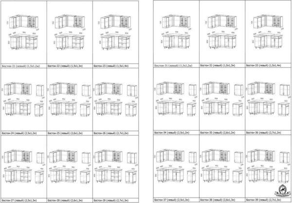 Схемы и размеры модулей угловой кухни Бостон