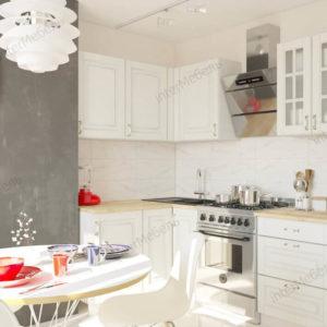 Угловая кухня Бостон 23 МДФ 1,5*1,4 метра акация белая