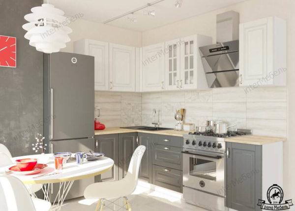 Угловая кухня Бостон 27 МДФ 2,5*1,3 метра акация белая акация графит
