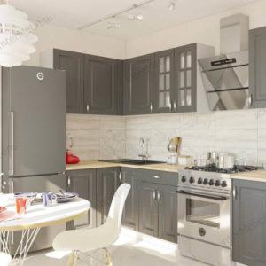 Угловая кухня Бостон 37 МДФ 2,5*1,3 метра акация графит