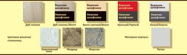 Цвета фасадов, столешниц и корпуса угловой кухни Корнелия Экстра ЛДСП