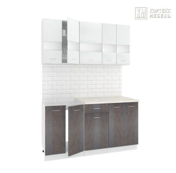 Кухня Корнелия Экстра ЛДСП прямая 1,5 метра белый береза