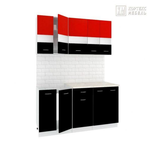 Кухня Корнелия Экстра ЛДСП прямая 1,5 метра красный черный