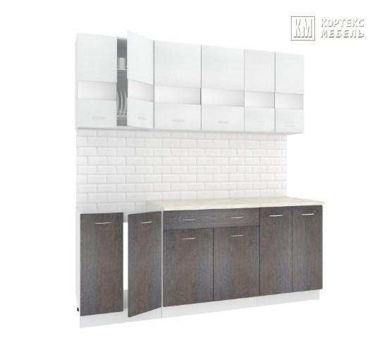 Кухня Корнелия Экстра ЛДСП прямая 2,0 метра белый береза