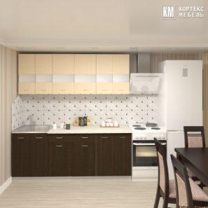 Кухня Корнелия Экстра ЛДСП прямая 2,0 метра венге светлый венге в интерьере