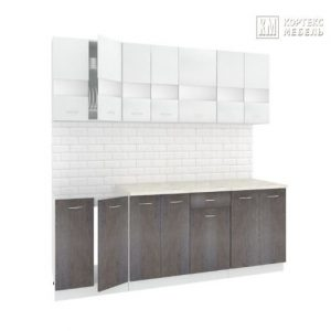 Кухня Корнелия Экстра ЛДСП прямая 2,1 метра белый береза