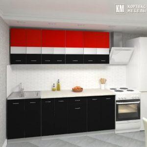 Кухня Корнелия Экстра ЛДСП прямая 2,1 метра красный черный в интерьере