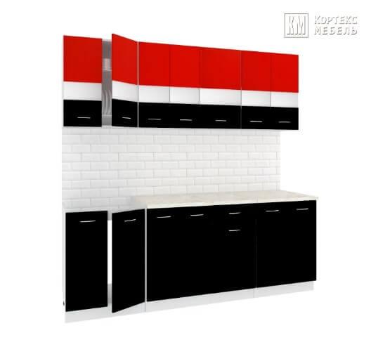 Кухня Корнелия Экстра ЛДСП прямая 2,1 метра красный черный
