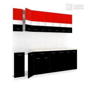 Кухня Корнелия Экстра ЛДСП прямая 2,3 метра красный черный