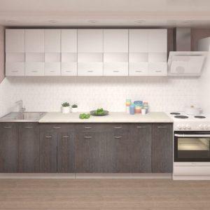 Кухня Корнелия Экстра ЛДСП прямая 2,5 метра белый береза фото в интерьере