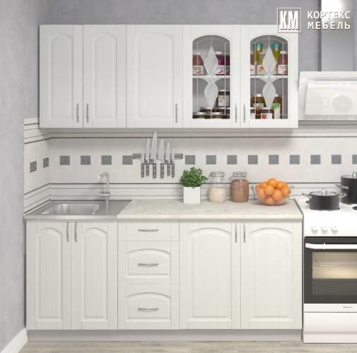 Кухня Корнелия Ретро МДФ прямая 1,8 метра ясень белый в интерьере