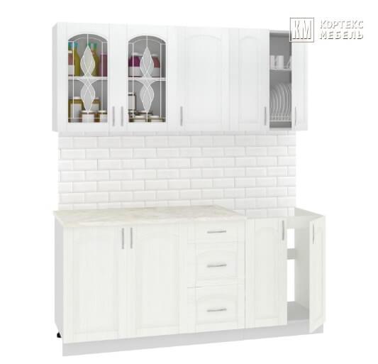 Кухня Корнелия Ретро МДФ прямая 1,8 метра ясень белый