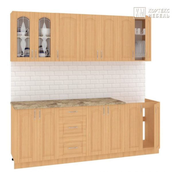 Кухня Корнелия Ретро МДФ прямая 2,2 метра ольха