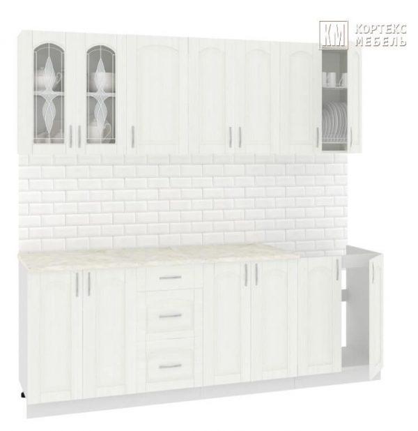 Кухня Корнелия Ретро МДФ прямая 2,2 метра ясень белый