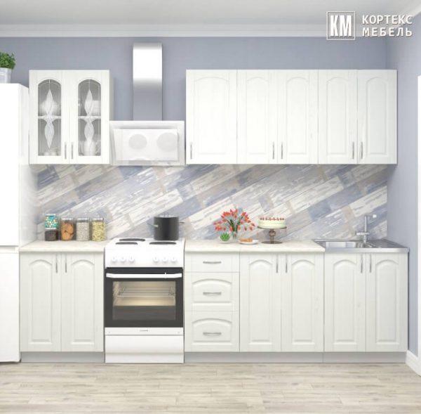 Кухня Корнелия Ретро МДФ прямая 2,2 метра ясень белый в интерьере