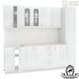 Кухня Корнелия Ретро МДФ прямая 2,4 метра ясень белый