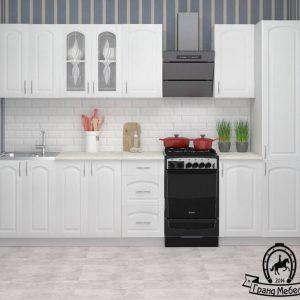 Кухня Корнелия Ретро МДФ прямая 2,4 метра ясень белый в интерьере