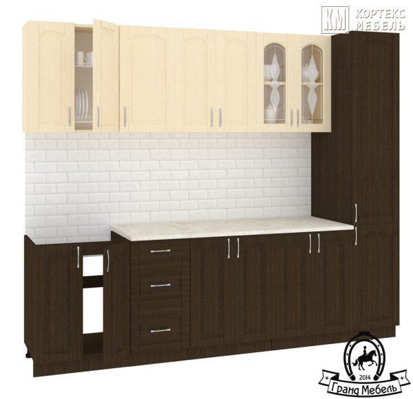 Кухня Корнелия Ретро МДФ прямая 2,6 метра венге светлый венге