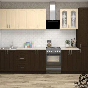 Кухня Корнелия Ретро МДФ прямая 2,6 метра венге светлый венге в интерьере