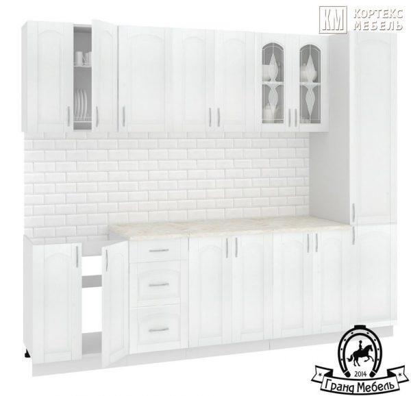 Кухня Корнелия Ретро МДФ прямая 2,6 метра ясень белый