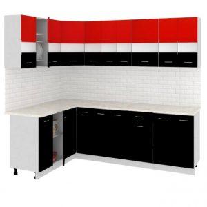 Угловая кухня Корнелия Экстра ЛДСП 1,5 х 2,4 метра красный черный