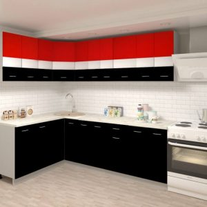 Угловая кухня Корнелия Экстра ЛДСП 1,5 х 2,4 метра красный черный в интерьере