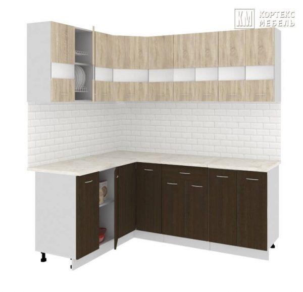 Угловая кухня Корнелия Экстра ЛДСП 1,5 х 2 метра дуб сонома венге
