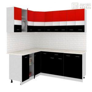 Угловая кухня Корнелия Экстра ЛДСП 1,5 х 2 метра красный черный