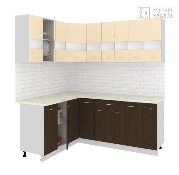 Угловая кухня Корнелия Экстра ЛДСП 1,5 х 2 метра венге светлый венге