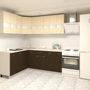 Угловая кухня Корнелия Экстра ЛДСП 1,5 х 2 метра венге светлый венге в интерьере