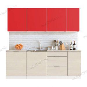Кухня Mix Top 7 ЛДСП 2,2 метра красный вудлайн кремовый
